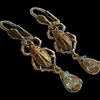 Vintage German Saphiret Glass Scarab Beetle Figural Dangle Leverback Earrings