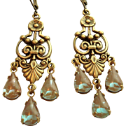 Victorian Style German Saphiret Glass Chandelier Leverback Earrings