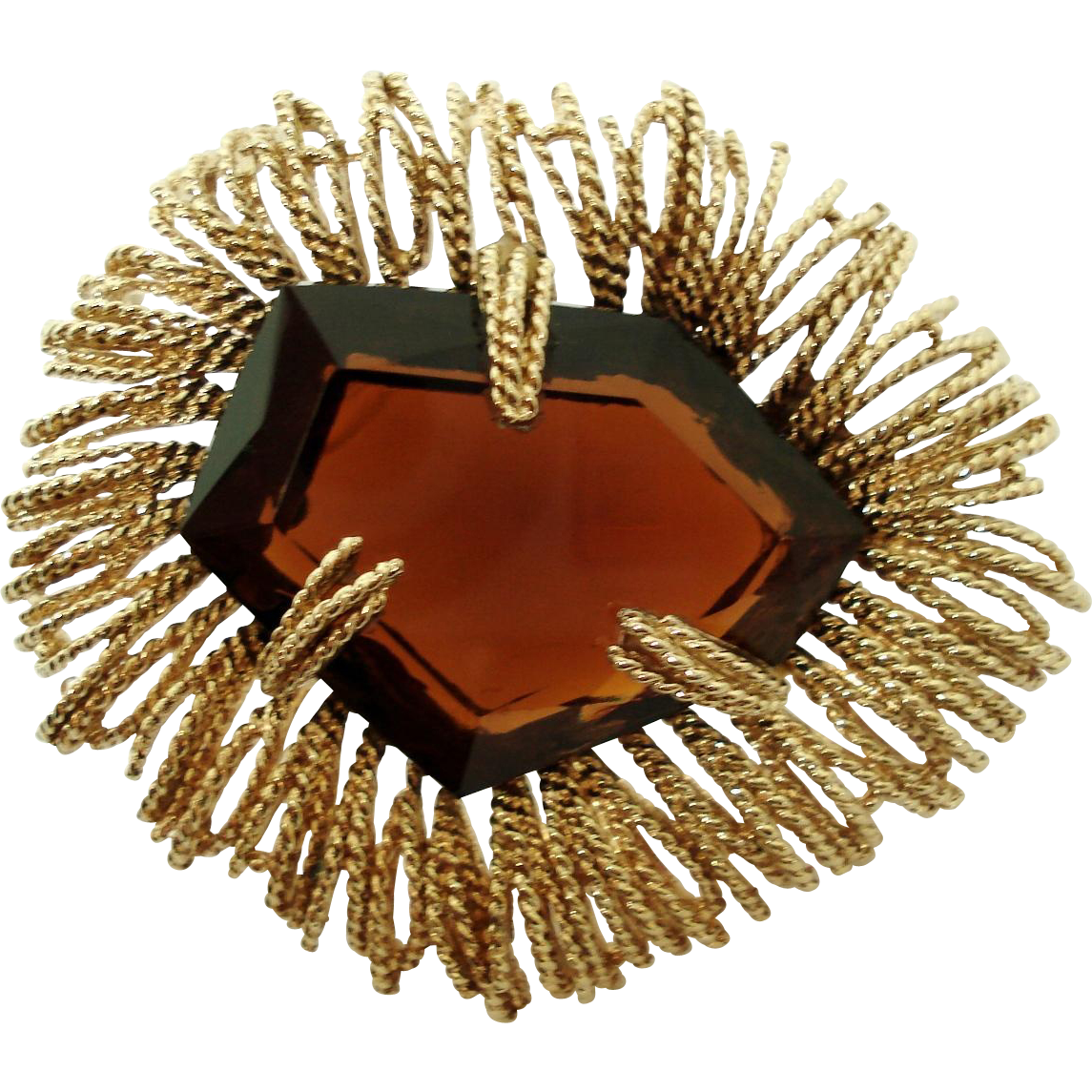Goldtone Smokey Large Unusual Shape Brown Faceted Glass Modernist Brooch Pin