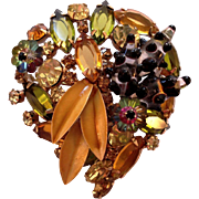 Brown & Olive Green With Flower Rivoli  Rhinestone Art Glass Enamel Brooch Pin