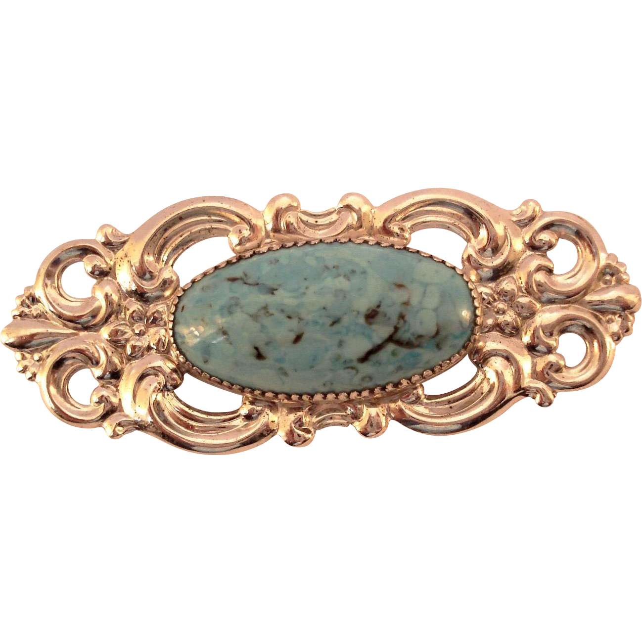 Ornate Beau Sterling Silver Faux Turquoise Glass Pin Brooch