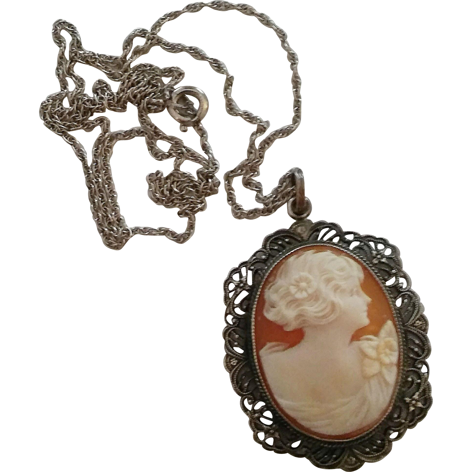Vintage Sterling Silver Cameo Filigree Pendant Necklace