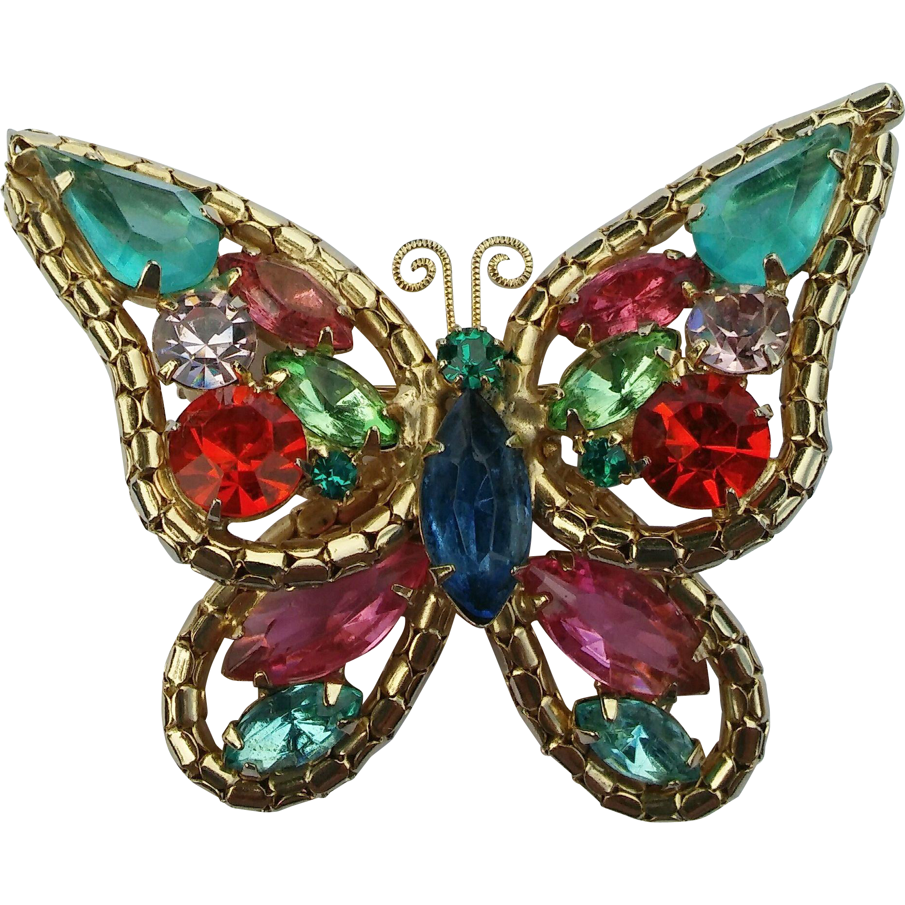 Vintage Colorful Rhinestone Butterfly Pin Brooch