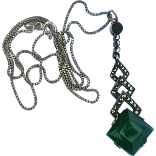 Art Deco Sterling Silver Marcasite Chrysoprase Lavaliere Pendant Necklace