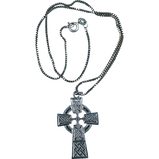 Vintage Sterling Silver Celtic Irish Episcopal Cross on Chain