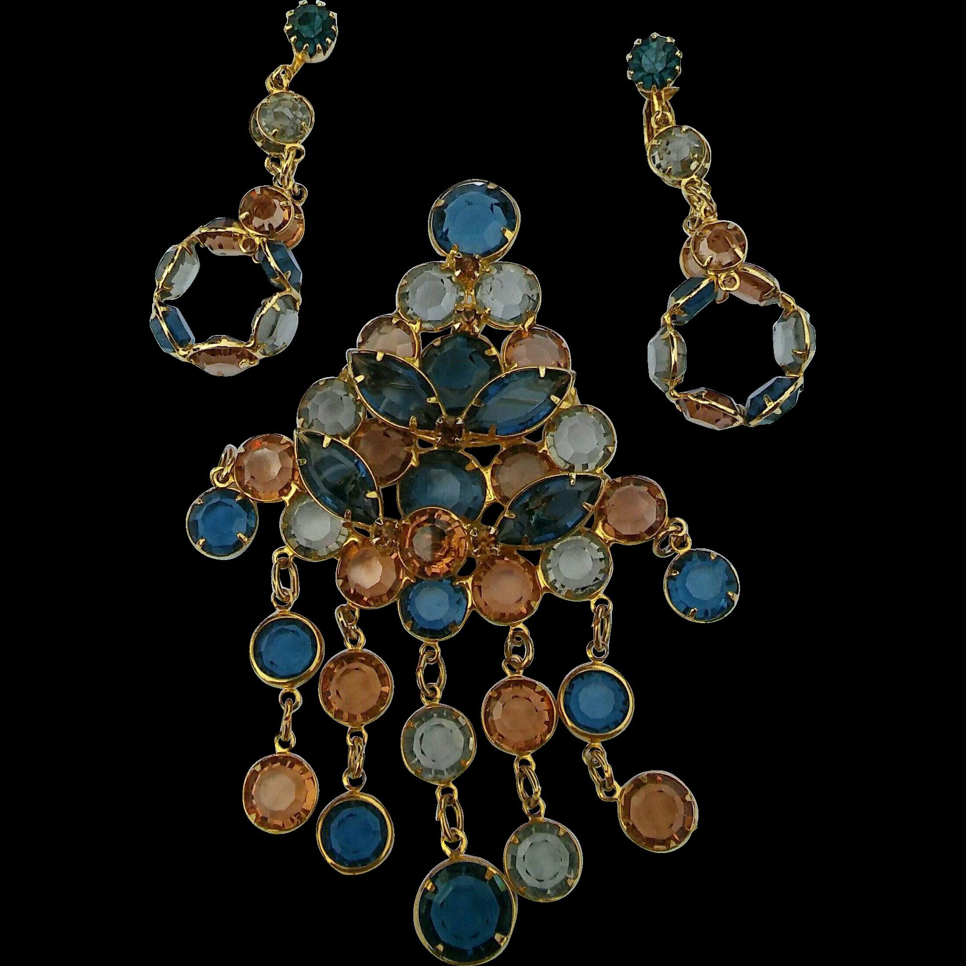 Large Bezel Set Rhinestone Dangle Pin Clip Earrings