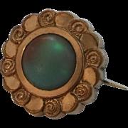"Antique Victorian Gold Gilt Saphiret Glass Lace ""Fichu"" Pin"