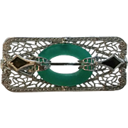 Vintage Ostby Barton Sterling Silver Enamel Green Glass Convertible Pin Brooch Pendant