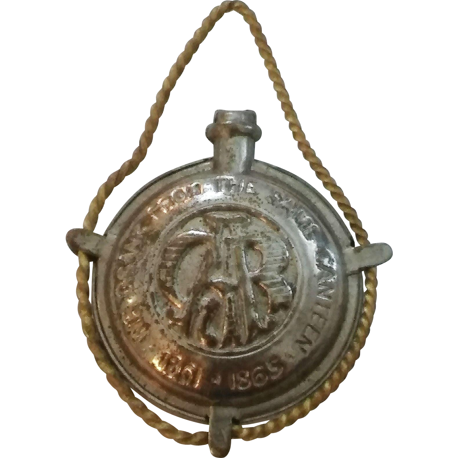 "Vintage GAR Mini Canteen Civil War 1861-63 ""We Drank From The Same Canteen"" Watch Fob Charm"