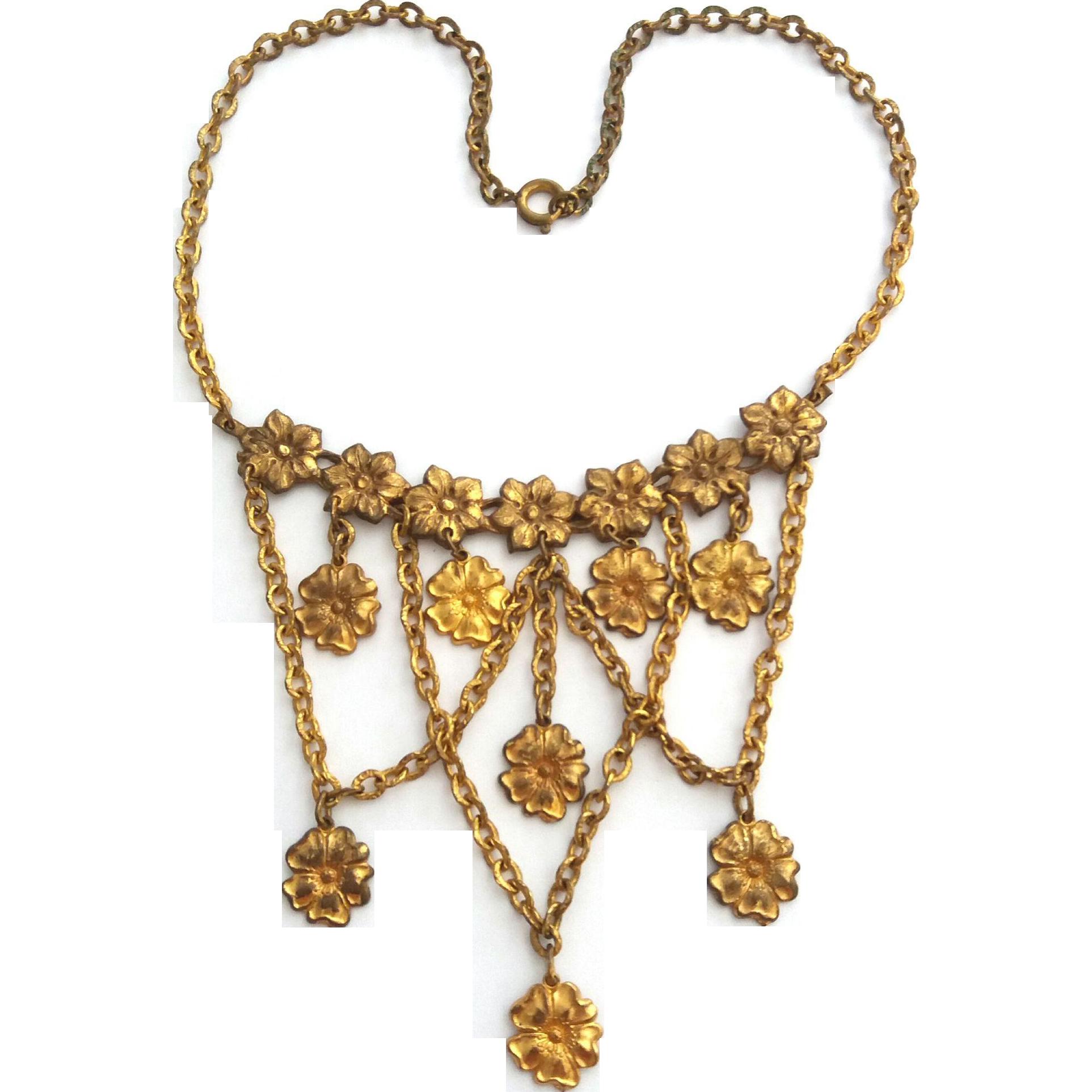 Vintage 1940's Flower Festoon Bib Necklace