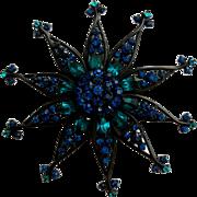 Vintage Atomic Flower Blue & Teal Japanned Pin Brooch