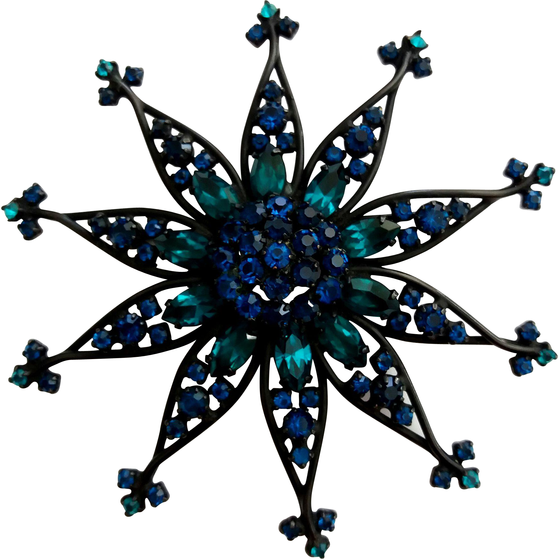 Vintage Atomic Flower Blue & Teal Japanned Pin Brooch