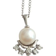 Vintage 14k White Gold Cultured Pearl & Diamond Pendant Necklace