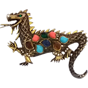 Vintage Rhinestone Poured Glass Cabochons Dragon Figural Brooch Pin