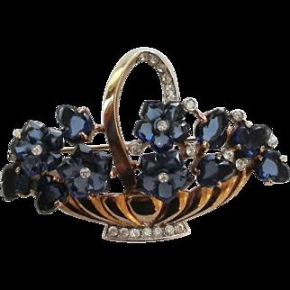 Crown Trifari Blue Carved Glass Fruit Salad Flower Basket Brooch Pin