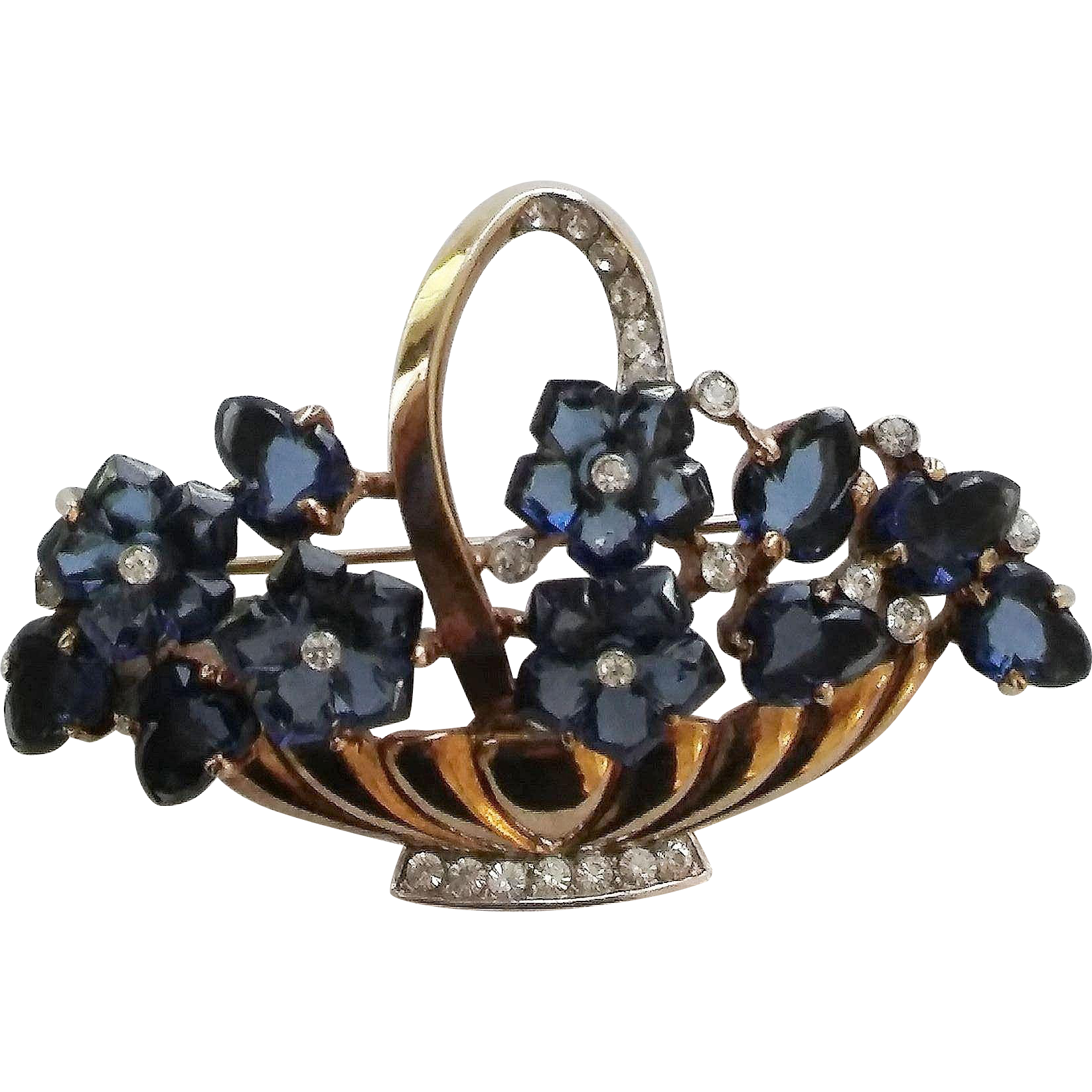 Crown Trifari Blue Carved Glass Fruit Salad Flower Basket Brooch Pin