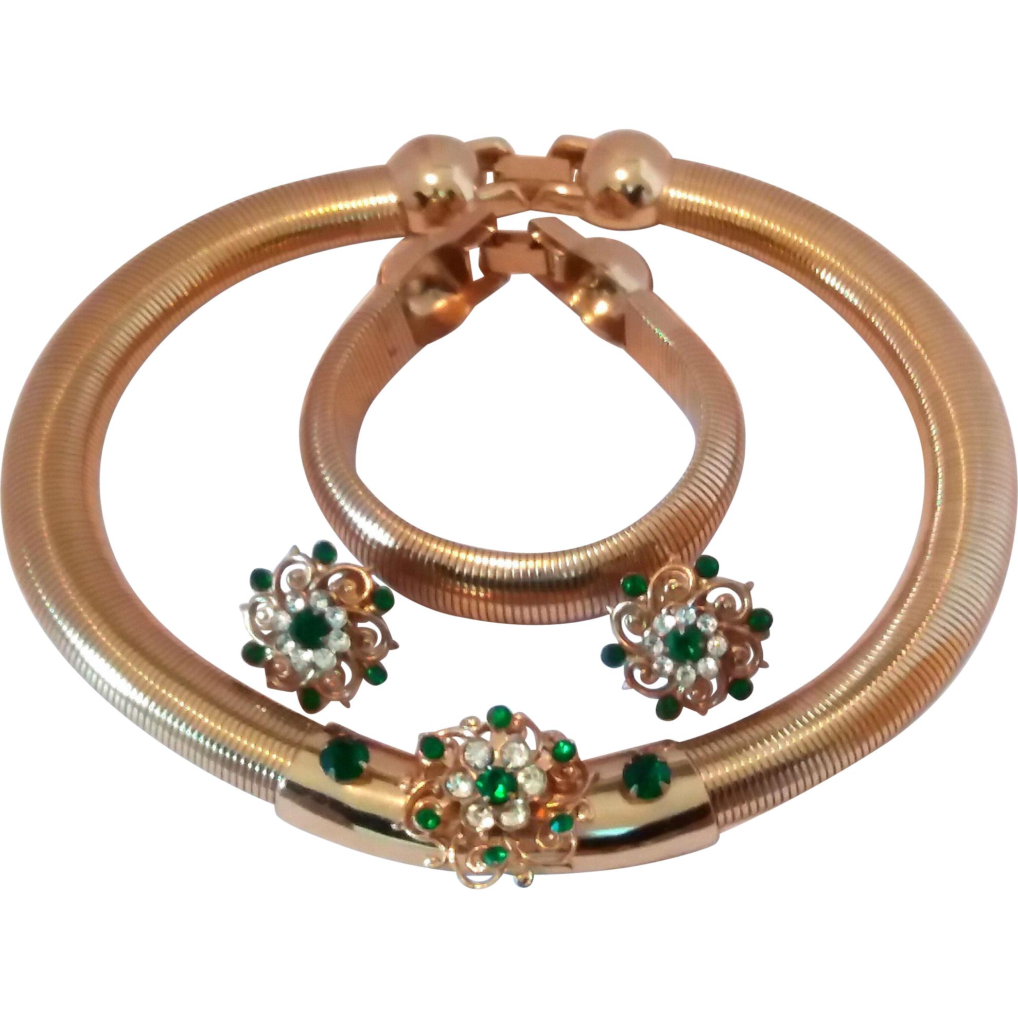 Karu New York Retro Gas Pipe Rhinestone Necklace Earrings Bracelet Set
