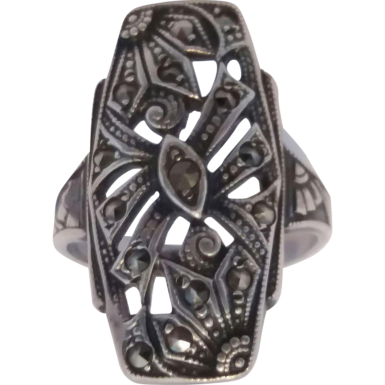 Art Deco Era Sterling Silver Marcasite Ring