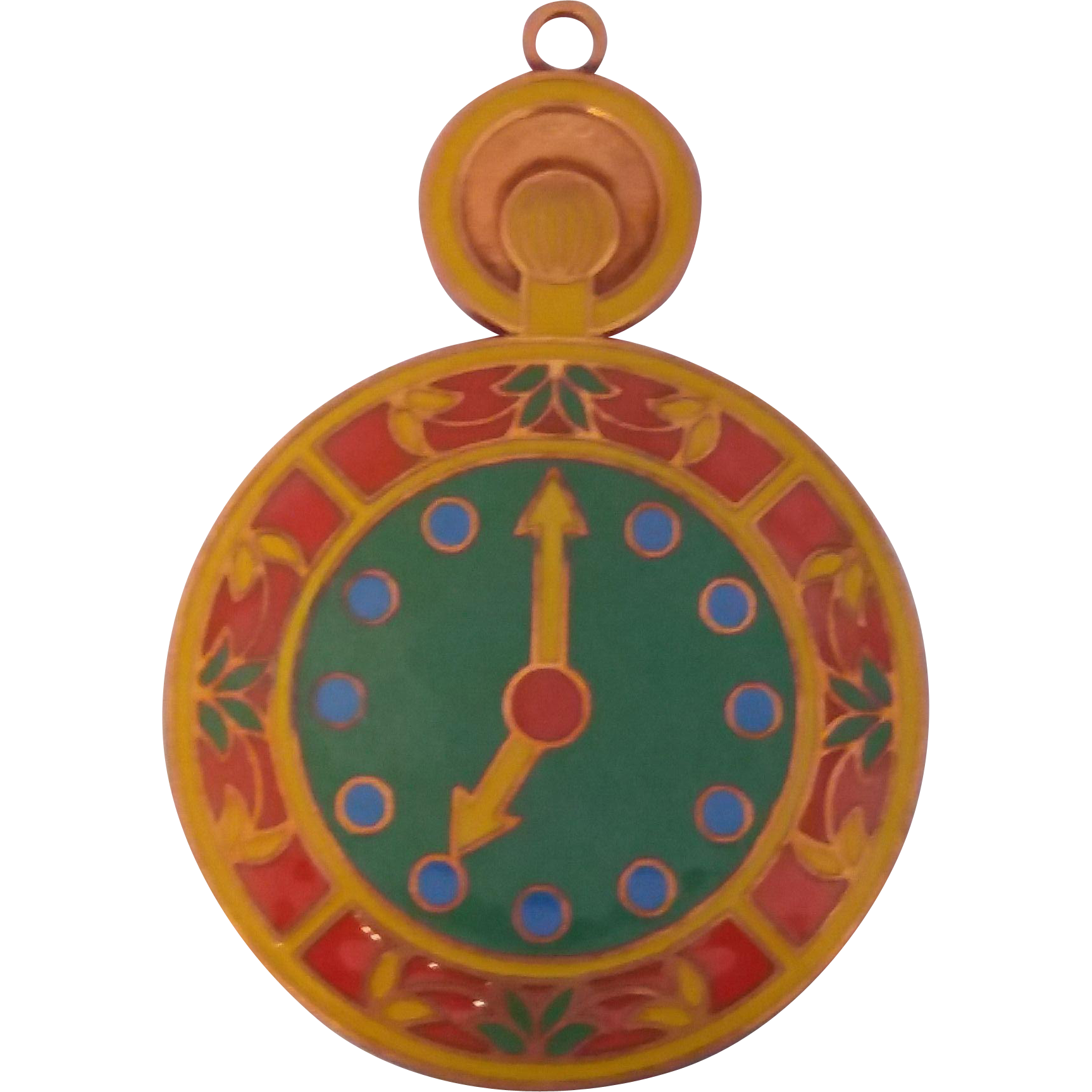 Vintage Copper Enamel Pocket Watch Pendant