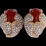 Vintage KJL Kenneth Lane Glass Cabochon Rhinestone Earrings
