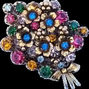Vintage Made Austria Rhinestone Floral Bouquet Brooch Pin