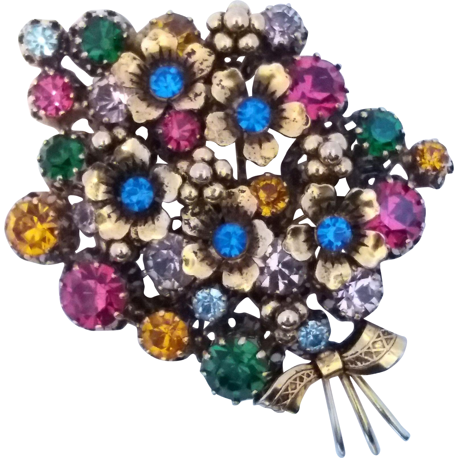 Vintage Made Austria Rhinestone Floral Bouquet Brooch Pin