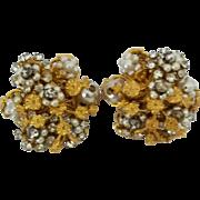 Vintage Hattie Carnegie faux Pearl rhinestone clip earrings