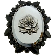 Juliana D&E Black Rhinestone Pressed Metallic Glass Rose Pin Brooch