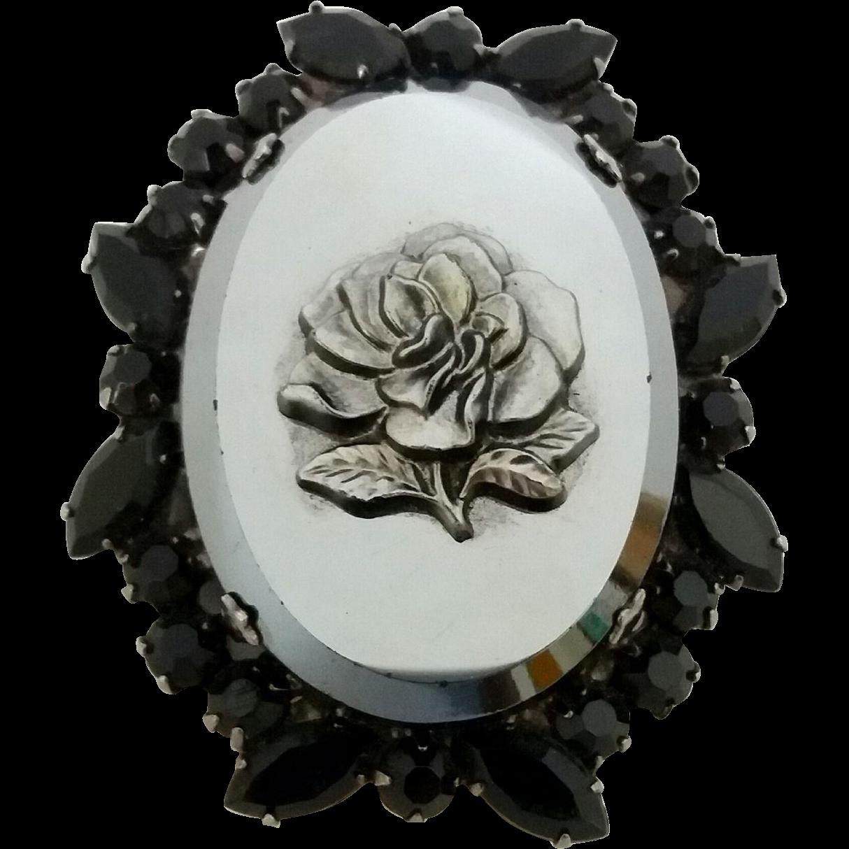 Juliana D&E Black Rhinestone Pressed Metallic Glass Rose Pin Brooch