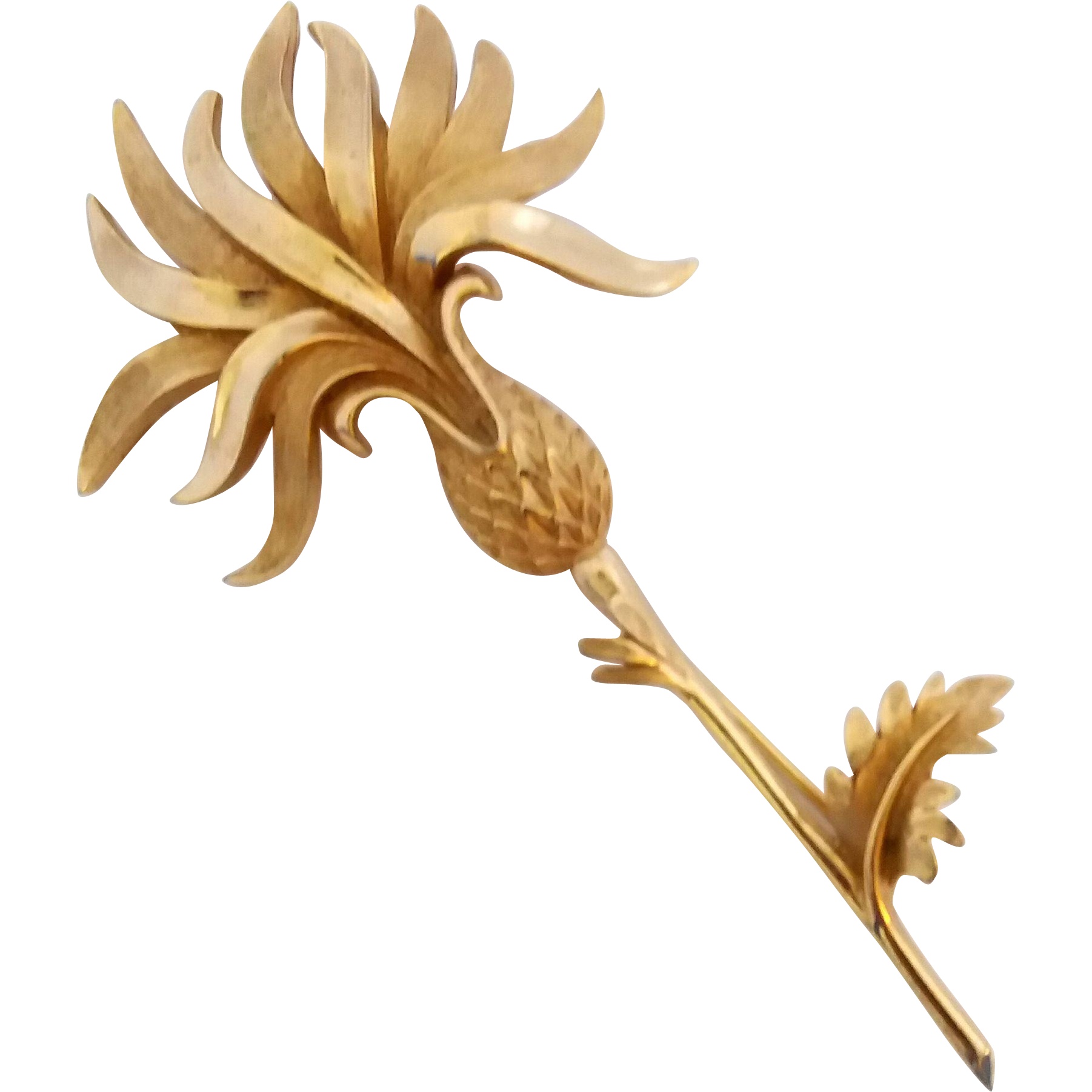 Vintage Trifari Goldtone Thistle Large Figural Pin Brooch