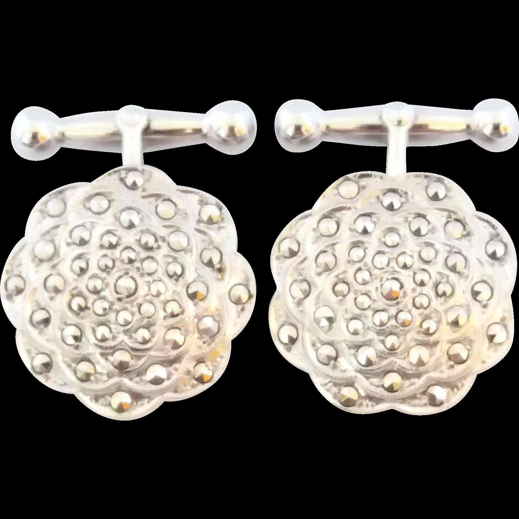 Vintage Sterling Silver Marcasite Cufflinks