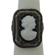 Vintage Sterling Silver Filigree Glass Cameo Ring