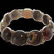 Vintage Russian Bezel Set Jasper Gold Gilded 875 Silver Bracelet