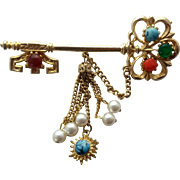 Vintage Glass Cabochon Jeweled Skeleton Key Pin Brooch