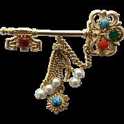 Vintage Glass Cabochon Jeweled Skeleton Key Pin Brooch