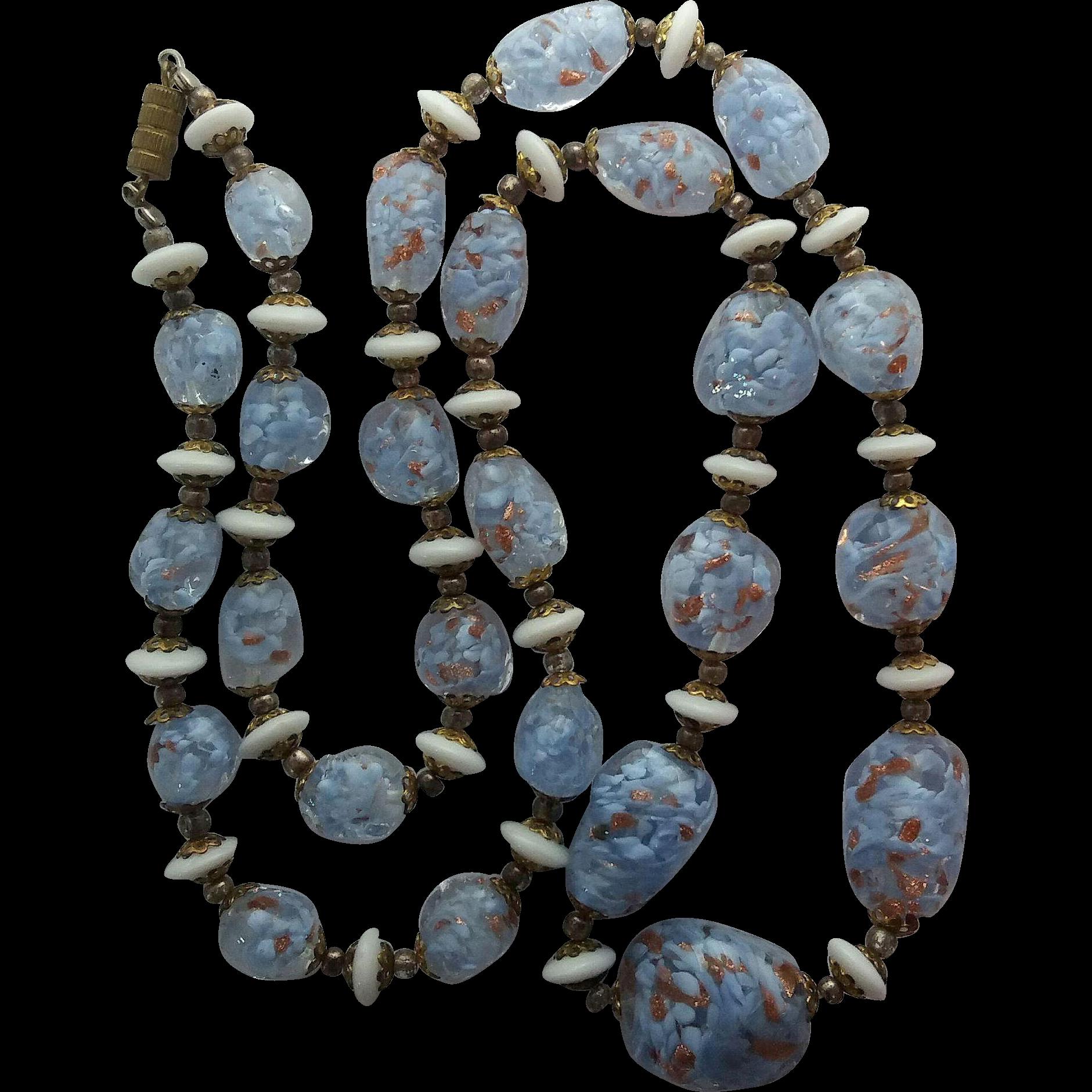 Vintage Venetian Light Blue Adventurine Free Form Murano Art Glass Beads Bead Necklace