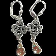Antiqued Silvertone Filigree Saphiret Dangle Lever Back Earrings