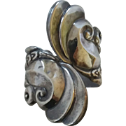 Vintage Mexican Sterling Silver Hinged Clamper Bangle Bracelet