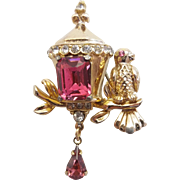 Vintage Signed Coro Bird On Branch Birdhouse Pink Rhinestone Figural Pin Brooch