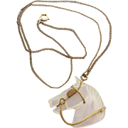 Vintage Carved Mother Of Pearl Horse Head Pendant Charm Fob On Gold Filled Chain Necklace