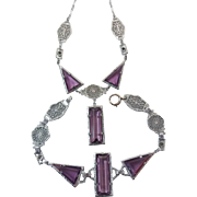 Vintage Art Deco Era Rhodium Plated Filigree Fancy Cut Amethyst Purple Glass Necklace Bracelet Set