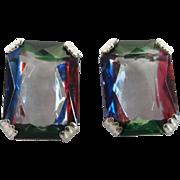 Vintage German Iris Art Glass Stone Screw Back 835 Silver Earrings