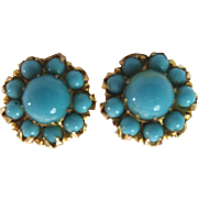 Vintage 10k Gold Turquoise Threaded Post Stud Pierced Earrings
