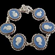 Vintage White Gold Filled Blue & White Jasperware Cameo Medieval Maiden Bracelet