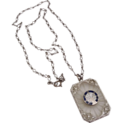 Vintage Art Deco Era Rhodium Filigree Camphor Glass BPOE Elks Pendant Necklace
