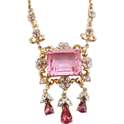Vintage Signed Coro Pretty In Pink Fancy Emerald Cut Rhinestone Necklace