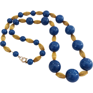 Vintage 1940's Rolled Gold Plate Blue Sodalite Fluted Bead On Chain Necklace