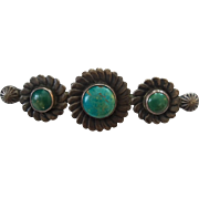 Vintage 1940's Sterling Silver Old Pawn Fred Harvey Era Native American Turquoise Brooch Pin