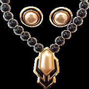 Vintage Monet Art Deco Style Black Enamel Faux Pearl Necklace Clip Earring Set