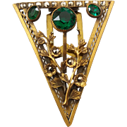 Large Vintage Gilt Brass Marcasite Green Glass Triangle Floral Dress Clip